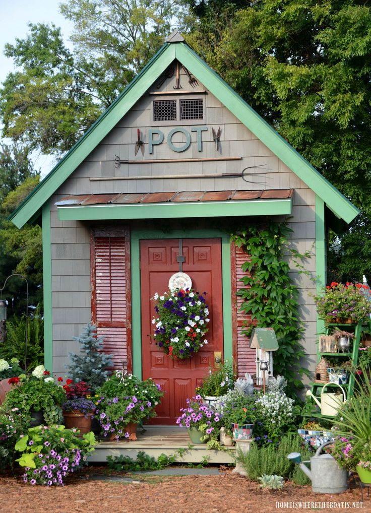 Ideas For Garden Sheds garden shed with shutters and a screen door via homesteadrevival Potting Shed Homeiswheretheboatisnet Garden