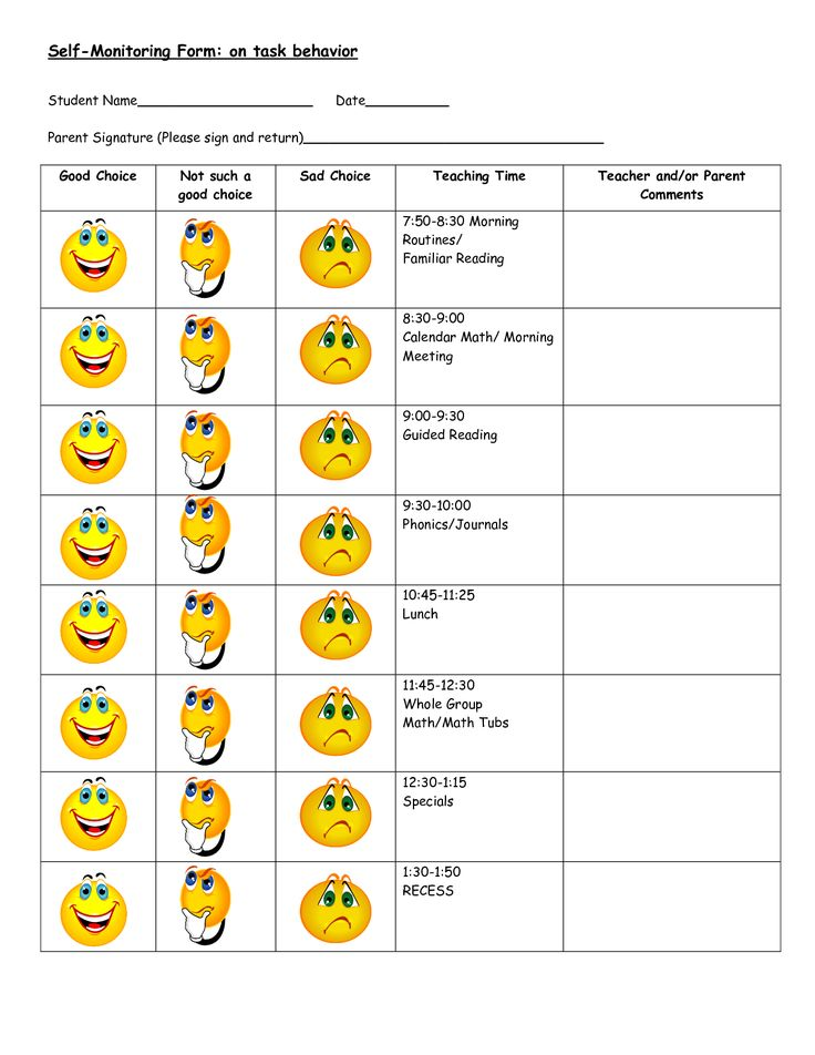 Behavior Modification Charts Daily Chart On Task 1st Grade Printable Preschool Student