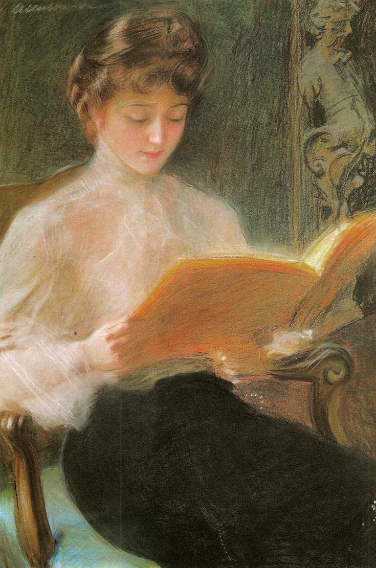 Woman reading by Teodor Axentowicz