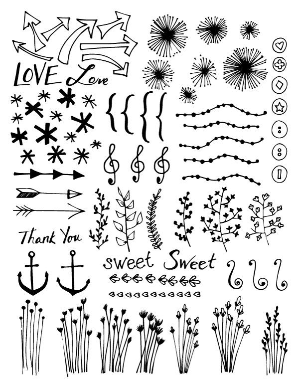 A FREE collection of hand drawn vector doodle designs to use in digital or craft projects from scrapbooking to web design. - Dabbles & Babbles