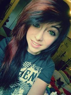 emo hair black and brown - Google Search