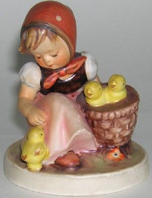Hummel Figurines ~ Chick Girl ~ I love Hummels...they remind me of Grandma. I would love to watercolor this image.