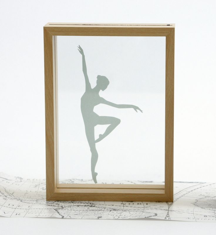 ballerina silhouette in floating frame handmade at cityscapesandthings