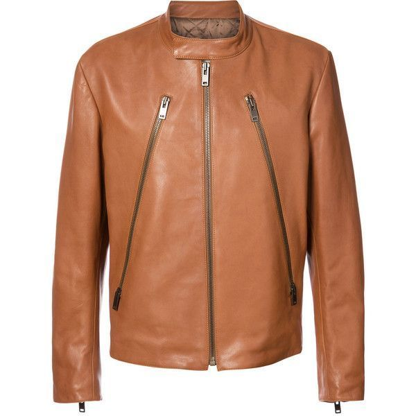 Maison Margiela zip front jacket ($2,635) ❤ liked on Polyvore featuring men's fashion, men's clothing, men's outerwear, men's jackets, brown, mens brown jacket, mens brown leather jacket, mens leather jackets, mens real leather jackets and mens quilted jacket