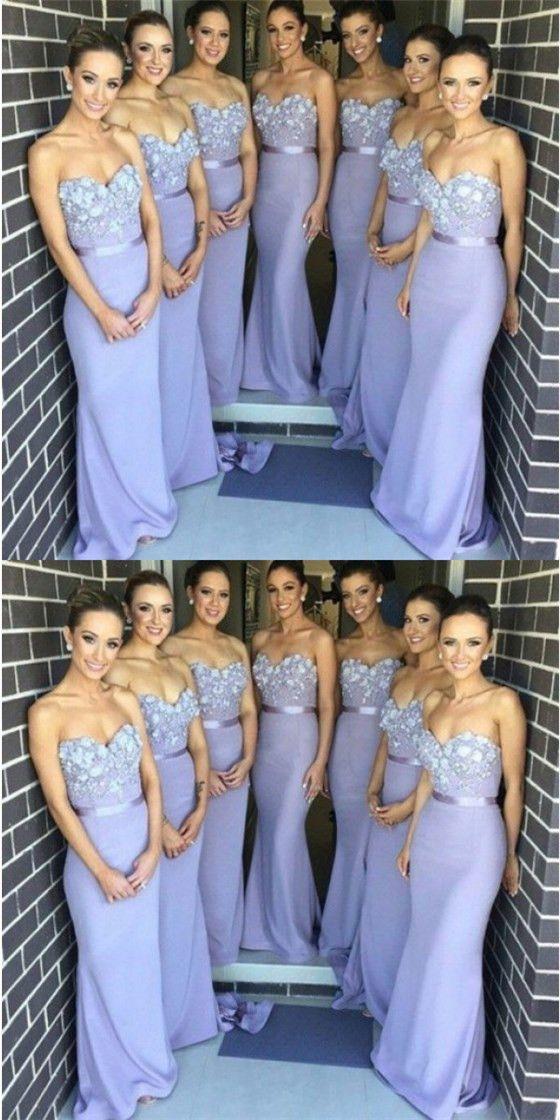 Elegant Mermaid Sweetheart Lavender Satin Bridesmaid Dresses With Appliques Qb0141 Mermaid Long Bridesmaid Dresses Sweetheart Bridesmaids Dresses Mermaid Bridesmaid Dresses