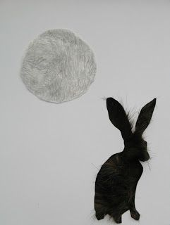 Furry moon, graphite, paper & faux fur