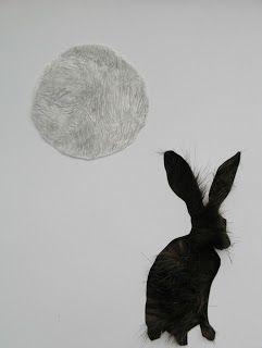 Furry moon, graphite, paper & faux fur