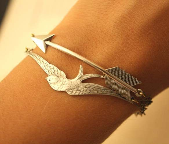 Silver Bird & Arrow Linked Bracelets jewelry fashion women ladies bird arrow