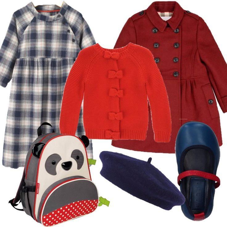 Un abitino scozzese blu con dettagli rossi a manica lunga, da indossare con calde calze di lana. Ai piedi una scarpina bon ton, bassa, con cinturino. Per le giornate più fredde, un maglioncino rosso con fiocchetti tono su tono. Per le uscite cappottino rosso e basco blu, per riprendere i colori del vestito. Zainetto fantasia Panda con tante tasche per portare in giro quello che serve.