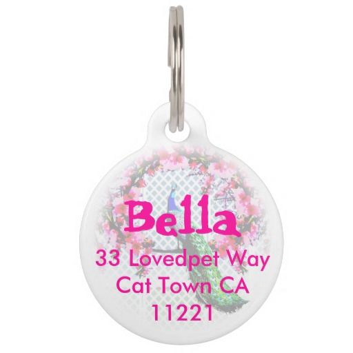 http://www.zazzle.com.au/peacock_cherry_blossoms_and_lattice_pet_name_tag-256287542887097834?rf=238523064604734277 Peacock Cherry Blossoms And Lattice Pet Name Tag - This pet tag features a peacock perching on a cherry blossom branch in front of a lattice wall. Add your fur babys name and address just in case they get lost.