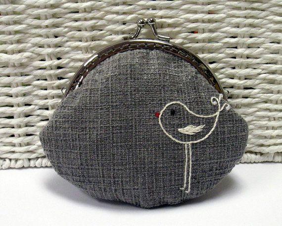 A Little Bird Coin Purse in Grey by HanhansStitching on Etsy, $35.00