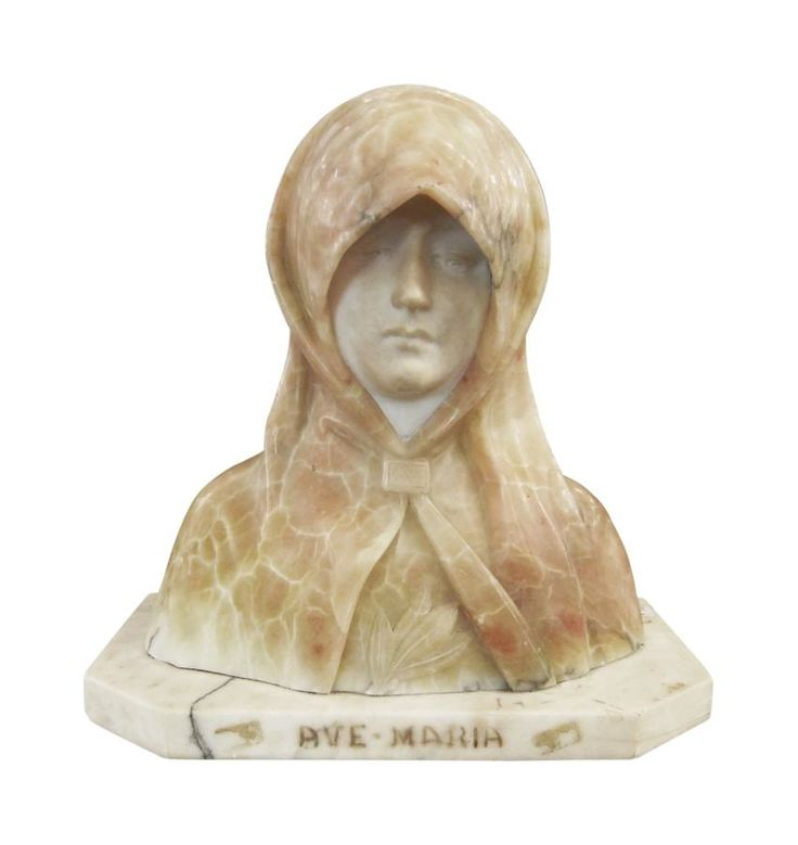 Ave Maria Alabaster Bust  Traditional, Stone, Decorative Object by Olde Good Things