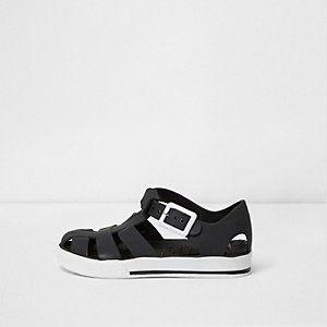 Mini - zwarte jelly sandalen in contrasterende kleuren voor jongens