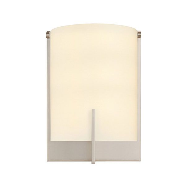 Arc Edge sconce features an Opal White etched glass diffuser with Satin Nickel or Polished Chrome  finishes. Available with incandescent or compact fluorescent options. Incandescent: One 75 watt, 120 volt A19 type Medium base incandescent bulb is required, but not included. Compact Fluorescent: One 18 watt, 10 volt T4 type G24d-2 base compact fluorescent bulb is required, but not included.  ETL listed. ADA compliant.  6.5 inch width x 9 inch height x 4 inch depth.