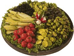 Relish Tray  Dill Pickle Spears, Cherry Tomatoes, Bread & Butter Pickles, Black Olives, Pimento-Stuffed green Olives, Sweet Gherkins and Pepperoncini Peppers