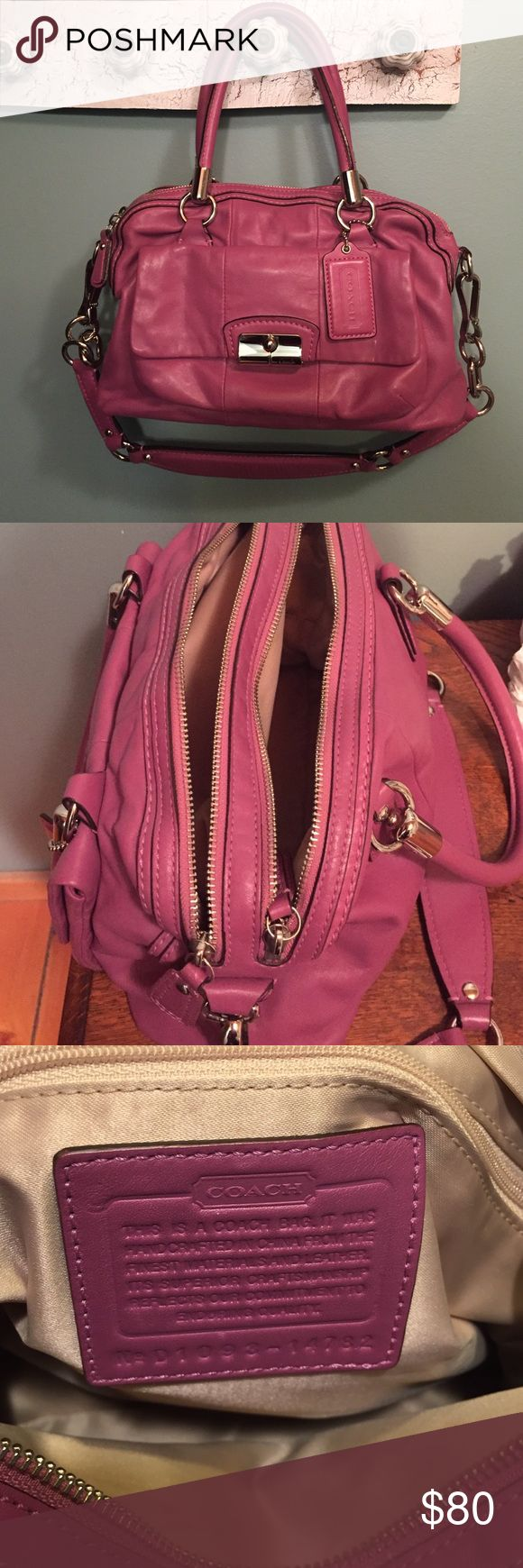 Coach purse Coach purse. Comes with original dust bag. Pink leather. Like new Coach Bags Satchels