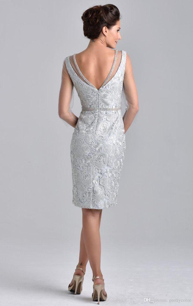 Scoop Neckline Sheath Zipper Closure Beaded Neckline knee length lace mother of the Bride Dress Pink Sliver Short Sleeves