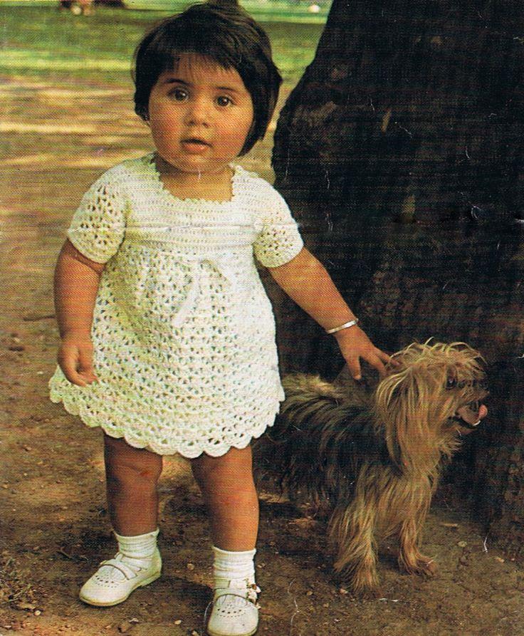 Free Crochet Baby Dress Patterns   Baby Dress Crochet Pattern (T192) 1960s Vintage Pattern