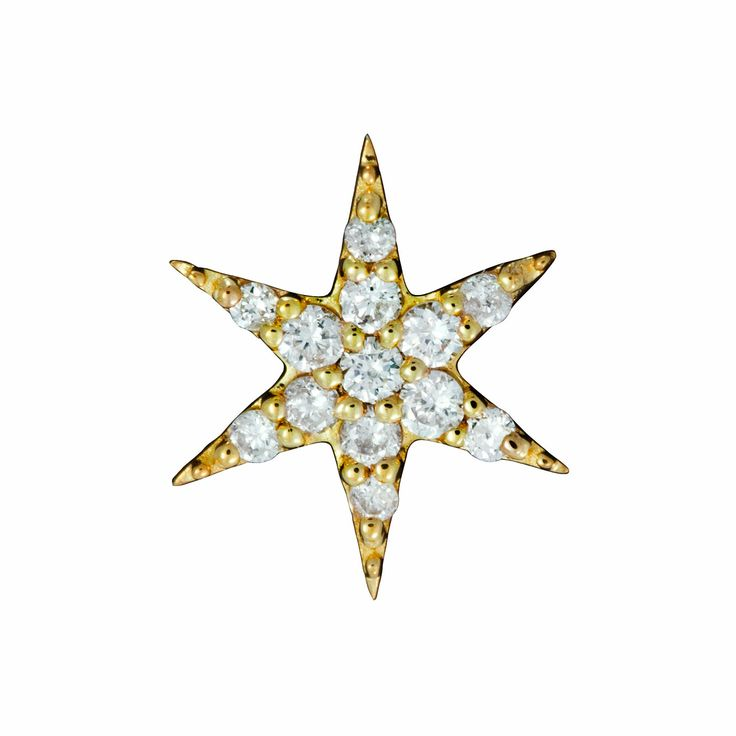 Zoe & Morgan  -   Mini Anahata Single Stud 9ct Yellow Gold earrings set with Diamonds $919 NZD