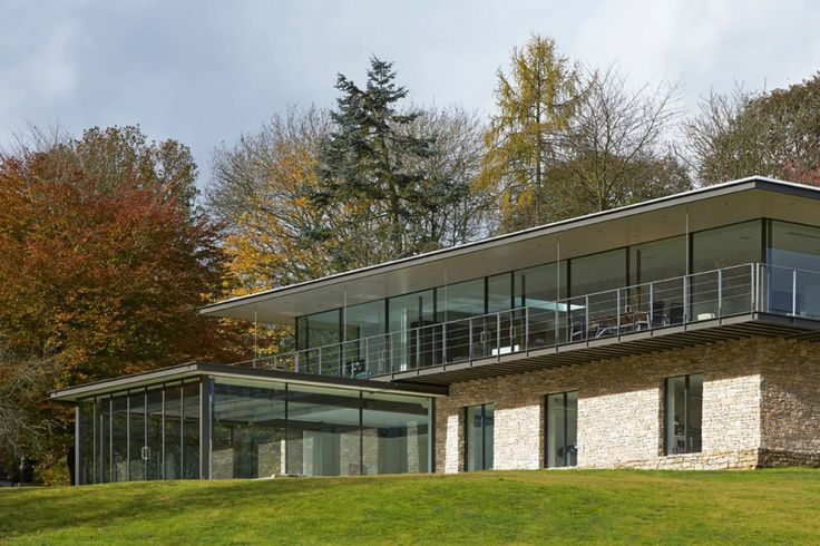 Architecture, Heavenly Cozy Private Residence Design Located In Woodland Henley On Thames With Timber And Stone Buildings Featuring Large Glass Window Plus Green Grass: Cozy Private Residence Design with Contemporary Look