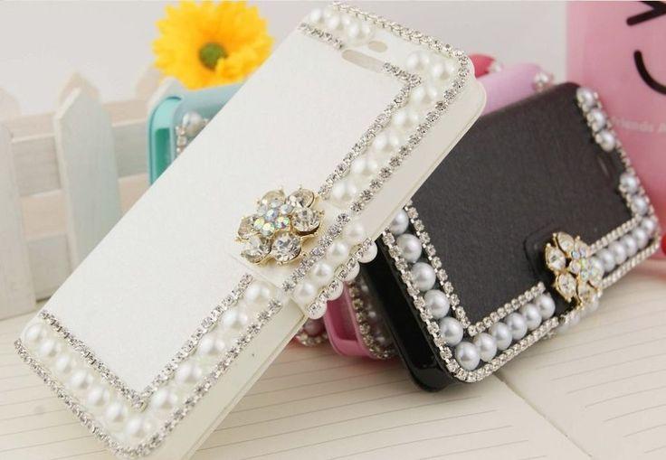 Samsung Galaxy S5 mini luxe witte bling pareltjes design walletcase