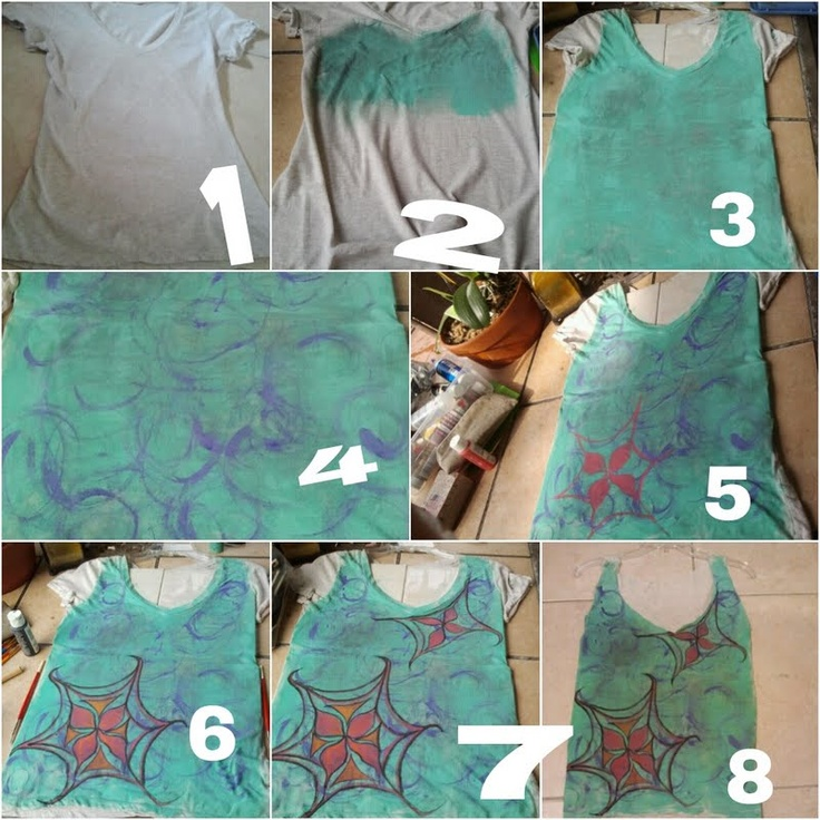#GETGRAPHIC   Step 1: Buy 100% cotton tee shirt, Craft Brushes, Craft paint in teal,Pink,Purple,Orange, and Gray.    Step:2 With a sponge brush begin to spread the teal & gray mixed paint all over the Center Front of the shirt.     Step 3; your shirt should look like this    Step 4: Get creative by swirling purple paint with a small tip brush. This don't have to be perfect, make sure to swirl in circles to create different sizes.     Step 5-8: Start adding floral petals for final graphic…