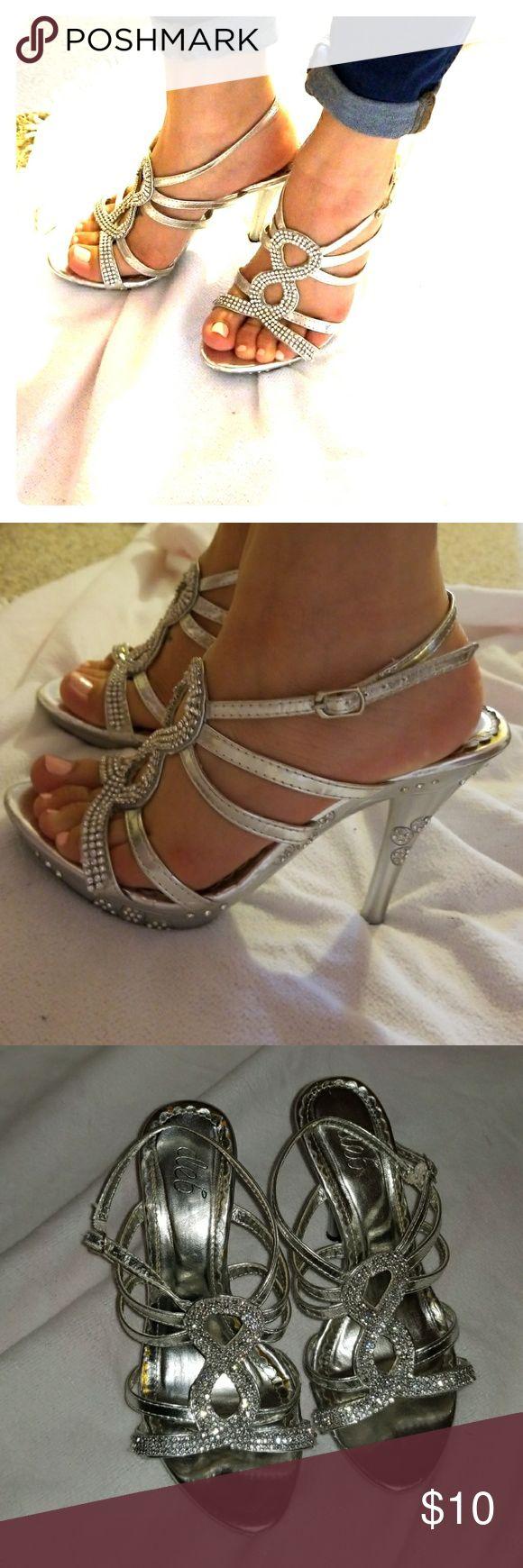 Silver sparkly heels Glitter heels Deb Shoes Heels