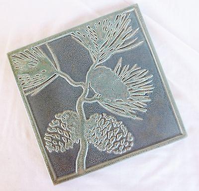Tile-Trivet-Ceramic-Pine-Cones-8-x-8-Signed-Frey-Craftsman-Arts-Crafts
