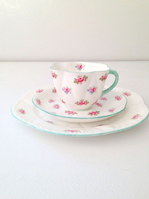 Antique Shelley English Fine Bone China Dainty Shape Rosebud Pattern Teacup, Saucer & Dessert Trio Wedding Gift Inspiration - c. 1940-1966