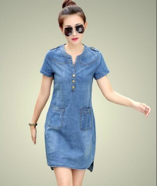 new arrival summer women denim dresses short sleeves loose A word dresses plus sizes v-neck solid denim dresses 176A 25