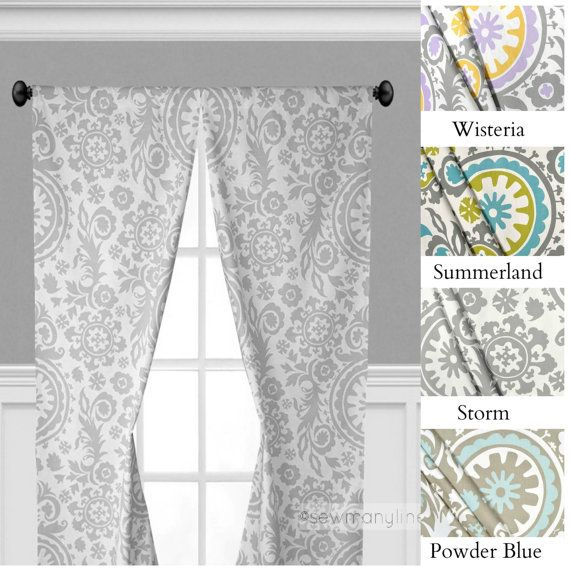 Gray Yellow Light Blue Curtains Nursery Bedroom Curtain Panels Window Treatments Floral Drapery Cust Drapescu Blue Curtains Light Blue Curtains Panel Curtains