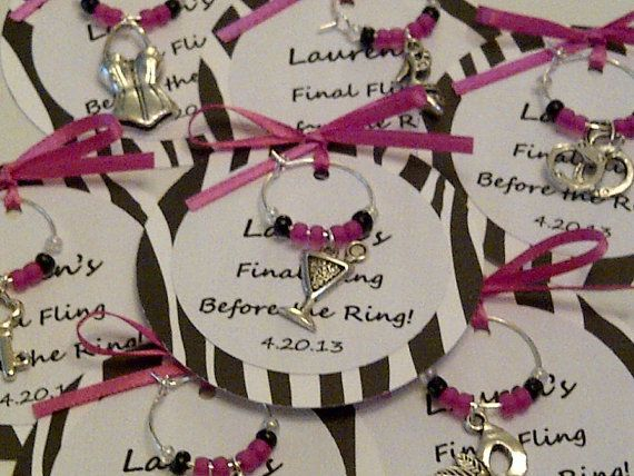 Custom Bachelorette Party Wine Charm Favors - Girls Night Out, Birthday Party, or Special Event on Etsy, $2.25   #detalles de #boda #regalos#original
