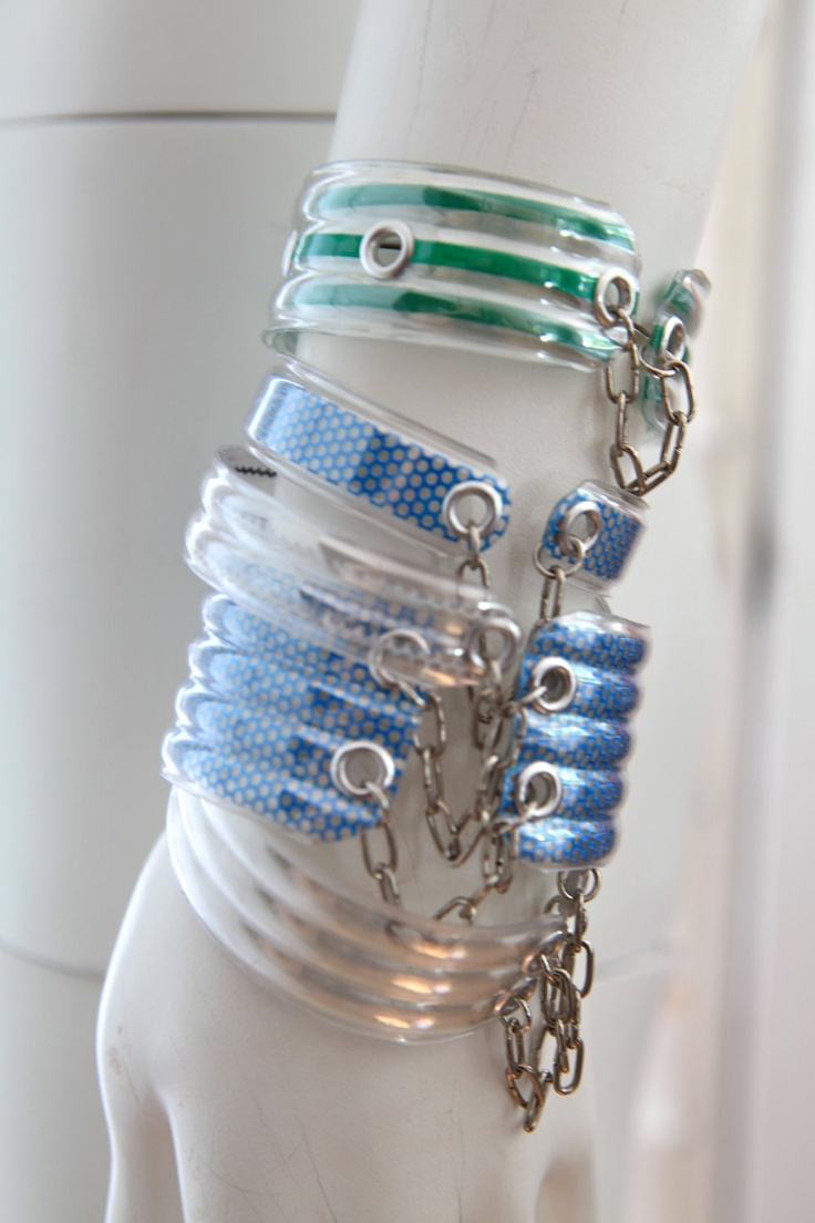 Upcycled water bottle cuff bracelet reciclar pinterest for Jewelry made from plastic bottles