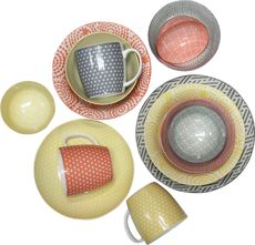 Playful patterns. Made of porcelain, the Miko Collection includes a variety of different sized dinnerware, each with there own vibrant motif...