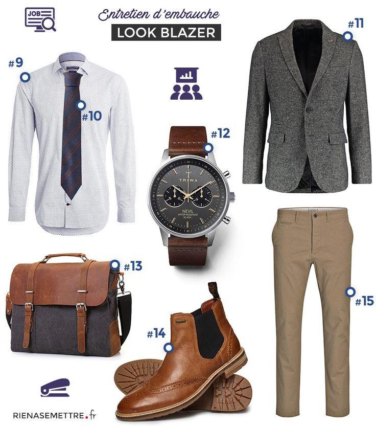 Look homme avec Blazer, Chino chemise blanche cintrée. Idée de look pour entretien d'embauche. Mode Masculine