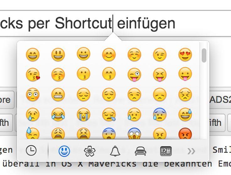 """TIPP: Emojis, Smileys, Symbole in OS X Mavericks per Shortcut einfügen - http://apfeleimer.de/2013/10/tipp-emojis-smileys-symbole-in-os-x-mavericks-per-shortcut-einfuegen - OS X Mavericks ermöglicht das schnelle und universelle Einfügen von Symbolen, Emojis, Emoticons und Smileys über einen Tastatur-Shortcut. Durch gleichzeitiges Betätigen der Tasten """"Control"""", """"Command"""" (Befehlstaste bzw. Apfel-Taste) und """"Space"""" (Leerzeichen), a..."""