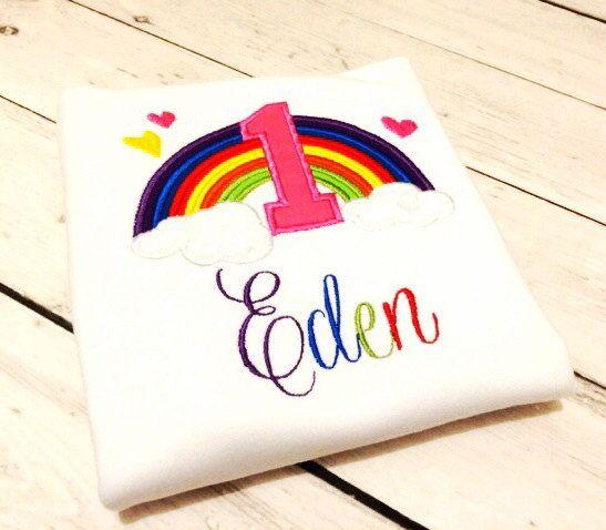 Rainbow Themed Birthday Embroidery Appliqué Shirt by TootzyFlootz on Etsy