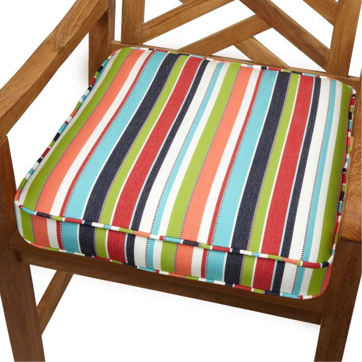 Mozaic Company 22.5 X 22.5 Sunbrella Striped Outdoor Square Deep Seat Patio  Chair Cushion Carousel Confetti