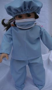 American girl free pattern tutorial to make a doctor/surgeon scrub outfit for your doll-this link is to mask, hat, and booties