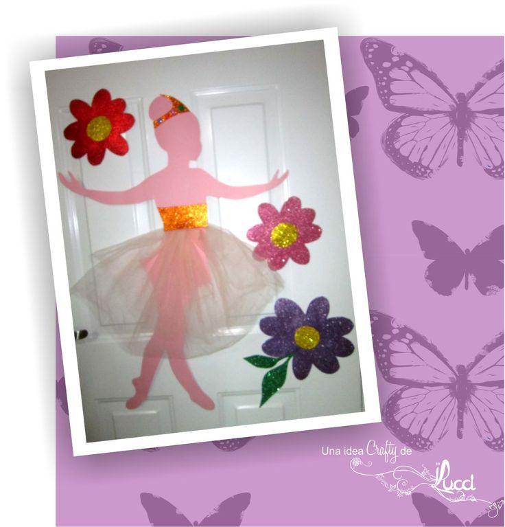 BAILARINA DE PAPEL Y FOAMI. Linda bailarina que decora la puerta de la habitación de una princesa.  Con coloridos materiales se realiza de forma sencilla.  ¡Visita el blog!