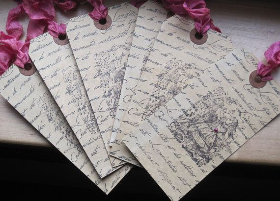 french script alice in wonderland shabby chic tags