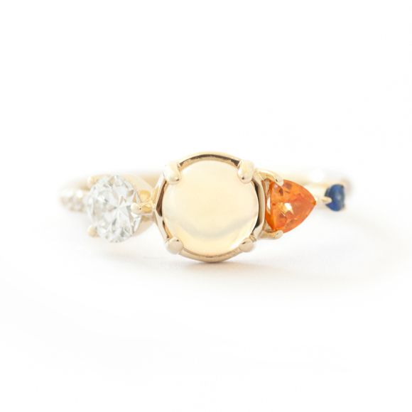 ETHIOPIAN OPAL AND SAPPHIRE CLUSTER RING-2
