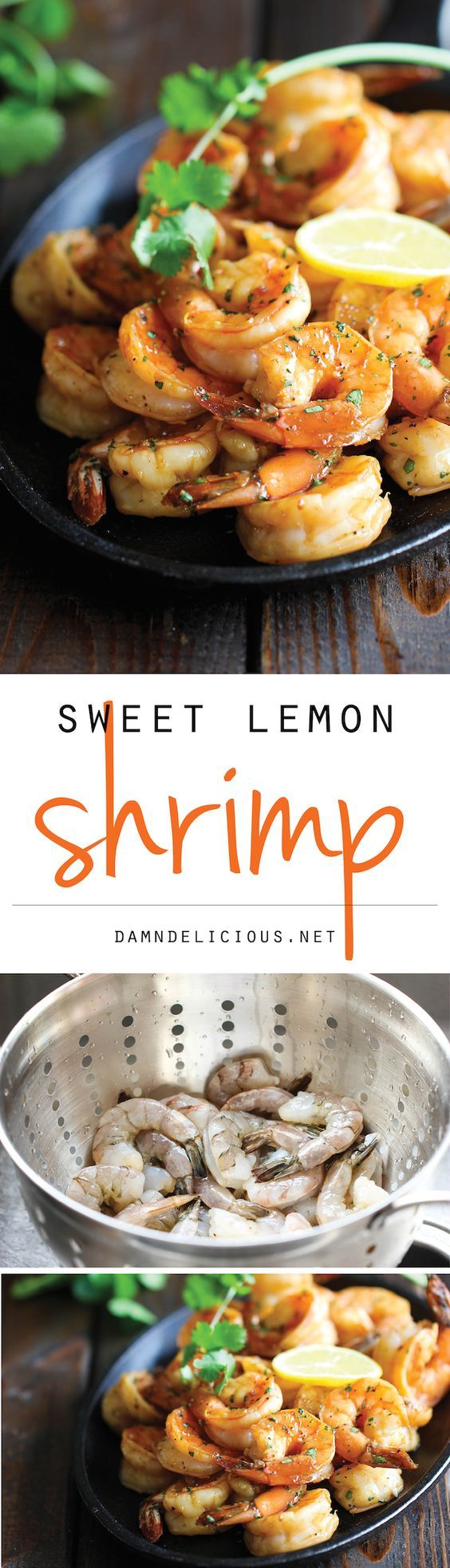 Sweet Lemon Shrimp: 1/3 cup hoisin sauce; 1/4 cup honey; 1/2 cup freshly squeezed lemon juice; Zest of 1 lemon; Kosher salt and freshly ground; black pepper, to taste; 1 1/2 pounds medium shrimp peeled and deveined; 2 tablespoons chopped fresh cilantro leaves.