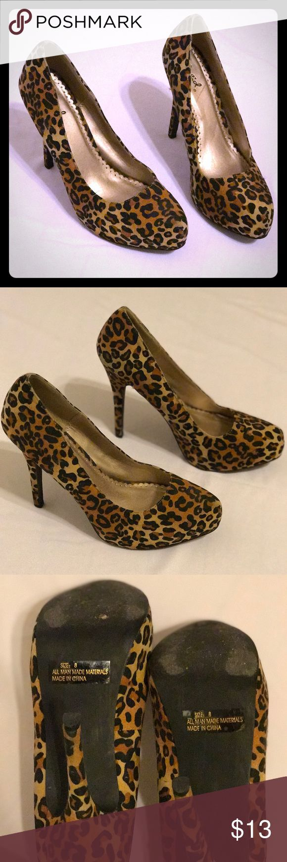 "Leopard Heels size 8 These leopard heels have only been worn once. They are in good condition and have a 5"" heel. No trades or pay pal. Shoes Heels"