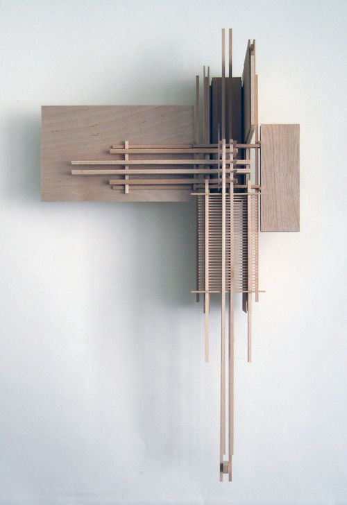 "MODEL HUNG ON WALL/BOARD .perpendicularity. elegance in lines. fabriciomora: Construction 6, ""Icarus"" Sculpture Made from Basswood Sticks"