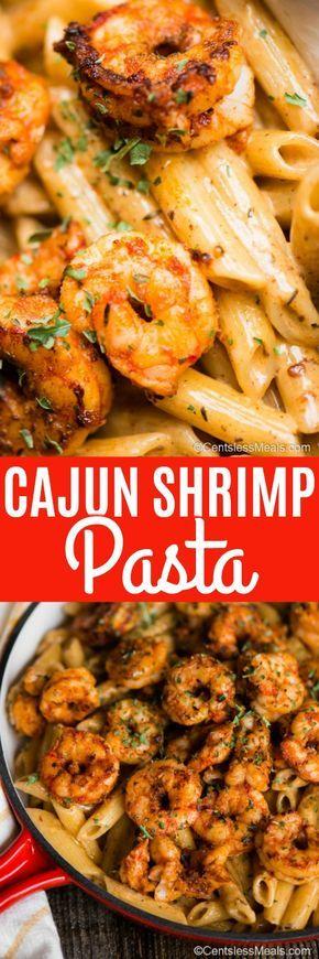 Cajun Shrimp Pasta hat zarte, saftige Garnelen, die in einem würzigen Cajun-Meer …