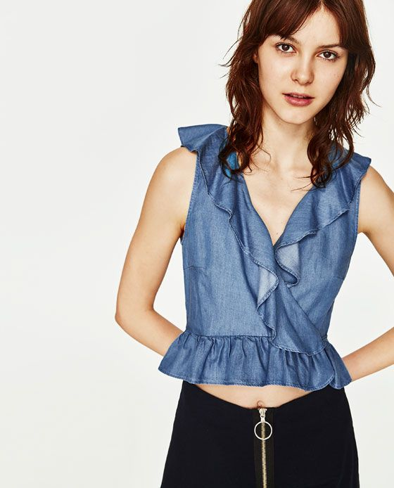 Image 2 of RECYCLED FABRIC RUFFLED TOP from Zara