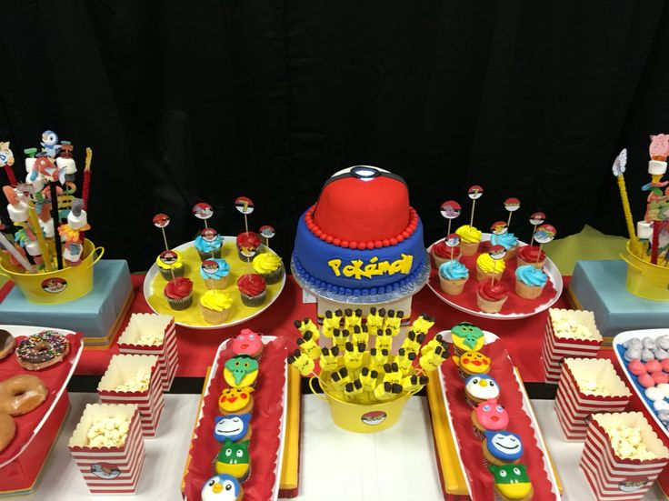 Pokemon birthday party cake table