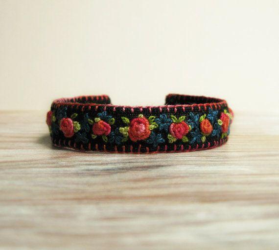 Cuff Bracelet / Boho Style Floral Embroidered Bracelet by Sidereal, $48.00
