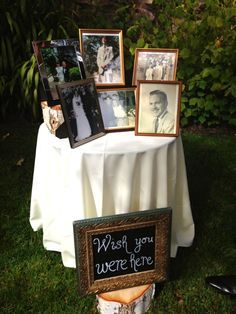what a sweet way to include all your loved ones at your wedding whether they are still with you or not i love these wedding memory table ideas
